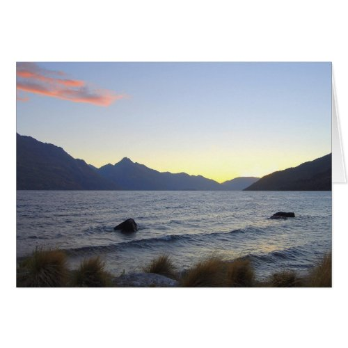 Lake Wakatipu at Sunset, Queenstown, NZ card