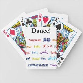 Language of Dance!  Words for Dance Worldwide Bicycle Playing Cards