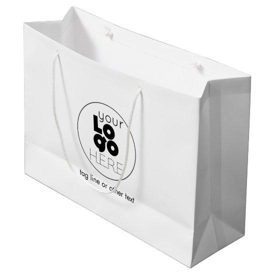Large Custom Paper Logo White Shopping Bag