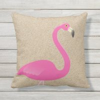 Large Flamingo on Beach Sand Outdoor Pillow | Zazzle
