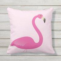 Large Flamingo on Blush Pink Outdoor Pillow | Zazzle