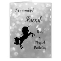 Large Happy Birthday Friend Unicorn Card