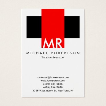 Large Monogram Black White Red Clean Business Card