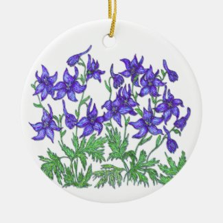 Larkspur Double-Sided Ceramic Round Christmas Ornament