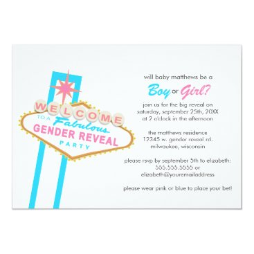 Las Vegas Sign Gender Reveal Party Invitation
