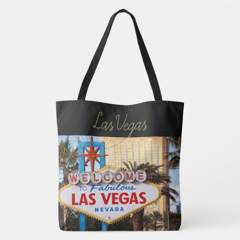 Las Vegas Strip All-Over Print Tote Bag back featuring the Welcome to Las Vegas sign