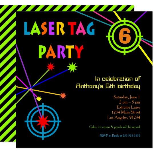 birthday party invitation laser tag