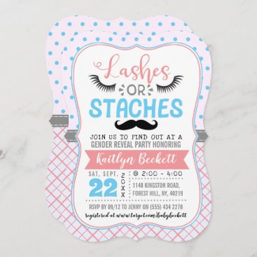 """""""Lashes Or Staches"""" Modern Gender Reveal Party Invitation"""