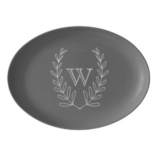 Laurel Wreath Custom Gray Serving Platter