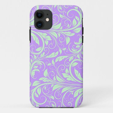 Lavender and Pastel Green Floral Damask iPhone 11 Case