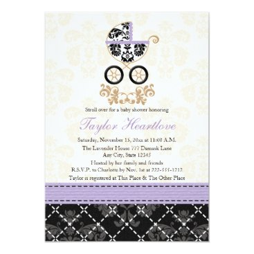 LAVENDER BLACK DAMASK BABY CARRIAGE BABY SHOWER CARD