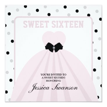 Lavender Blush Gown Sweet Sixteen with diamond bow Invitation