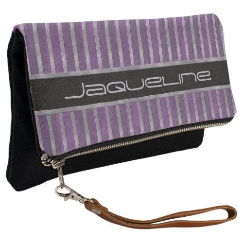 Lavender Dark Plum Striped Clutch
