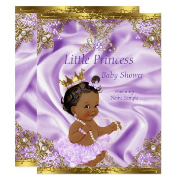 Lavender Gold Princess Baby Shower Ethnic Girl Invitation