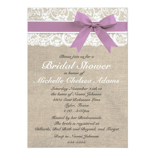 Bridal Shower Invitations Lace