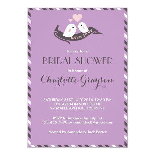 Lavender Love Birds Bridal Shower Invitation