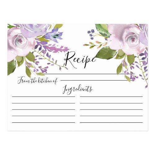 Lavender Watercolor Floral Recipe Card