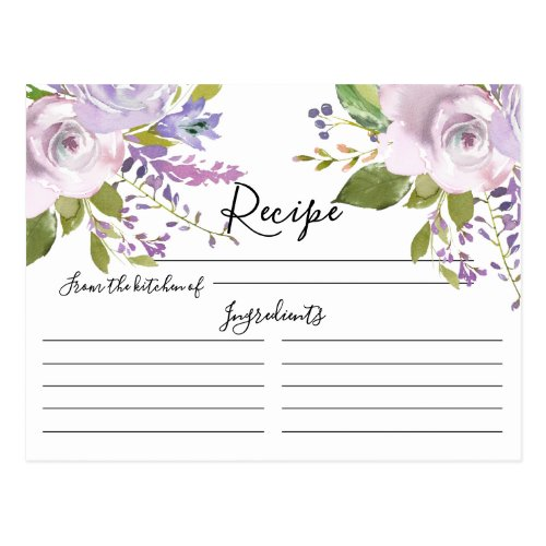 Lavender Watercolor Floral Recipe Card