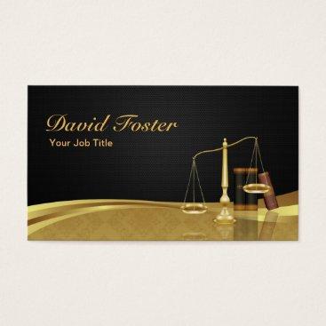 Lawyer Attorney Justice Elegant Black Gold Damask Business Card