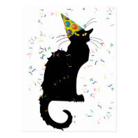 Le Chat Party Hat & Confetti Postcard