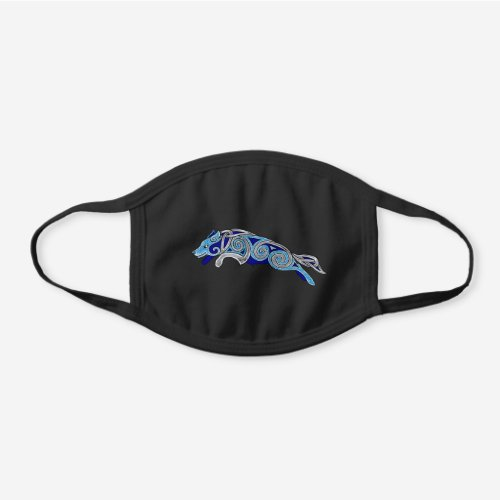 Leaping Celtic Border Collie Black Cotton Face Mask