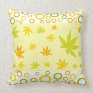 Leaves and circles pillow