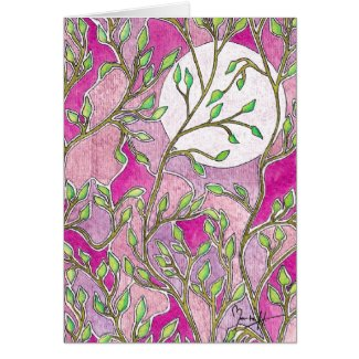 Leaves and Moon Card - Pink card