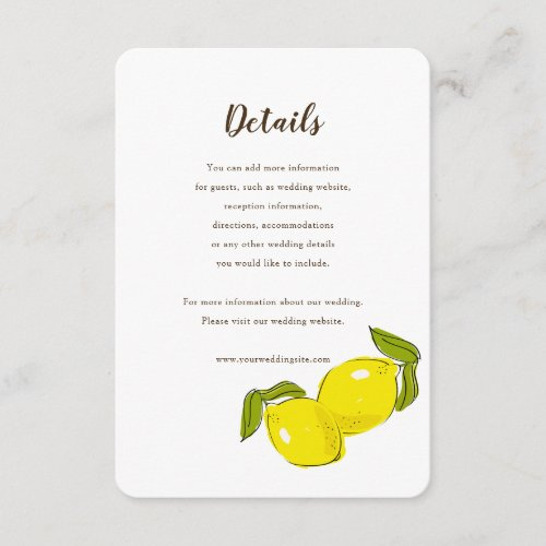 Lemon Citrus White Wedding Details Card