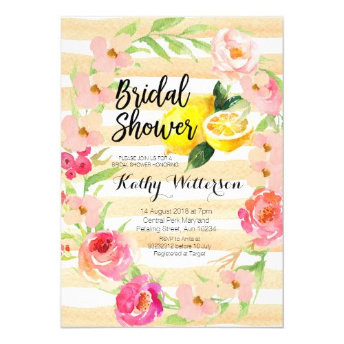 Lemonade Bridal Shower invitation watercolor