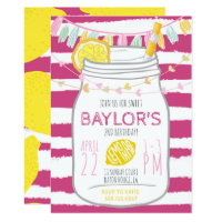 Lemonade Mason Jar Birthday Invitation