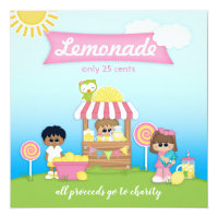 Lemonade Stand Lollipop Kid's Party Invitation