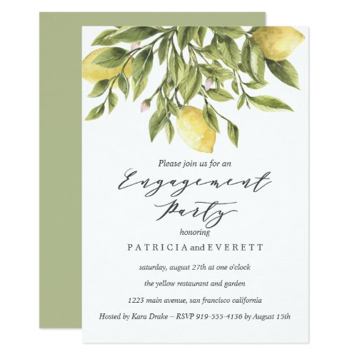 Lemons and Foliage Wedding Engagement Party v2 Invitation