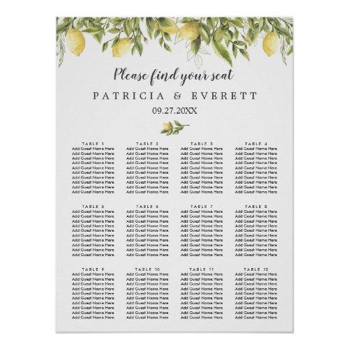 Lemons and leaves Summer Botanical wedding seating Poster
