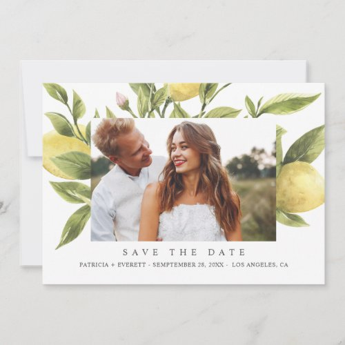 Lemons  Green Boho Wedding Photo save the date Announcement