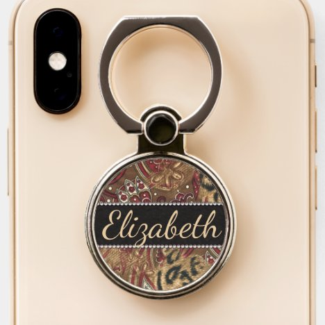 Leopard and Paisley Design Print to Personalize Phone Ring Stand