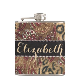 Leopard and Paisley Pattern Print to Personalize Hip Flask