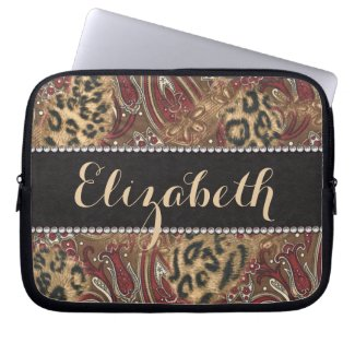 Leopard and Paisley Pattern Print to Personalize Computer Sleeves