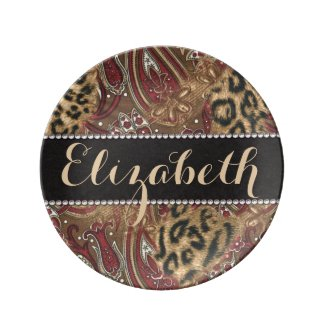 Leopard and Paisley Pattern Print to Personalize Porcelain Plates
