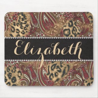 Leopard and Paisley Pattern Print to Personalize Mousepad
