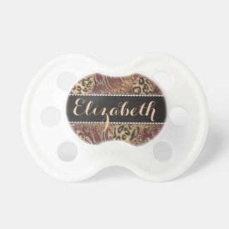 Leopard and Paisley Pattern Print to Personalize Baby Pacifier