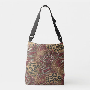 Leopard and Paisley Pattern Print Tote Bag