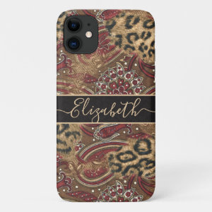 Leopard and Paisley Print Personalize iPhone 11 Case