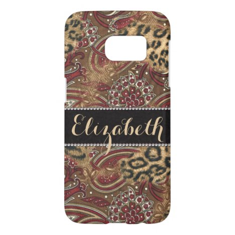 Leopard and Paisley Print Personalized Samsung Galaxy S7 Case