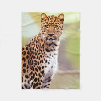 Leopard Photograph Image Fleece Blanket