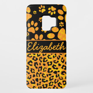 Leopard Print and Paws Orange Yellow Personalized Case-Mate Samsung Galaxy S9 Case