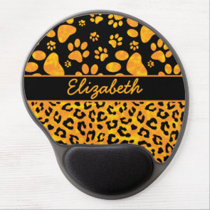 Leopard Print and Paws Orange Yellow Personalized Gel Mouse Pad