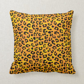Leopard Print and Paws Orange Yellow Pillow