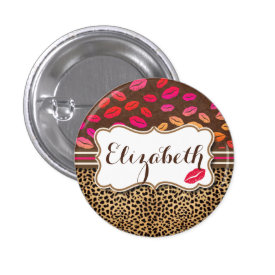 Leopard Print Lips Kisses Personalized 1 Inch Round Button