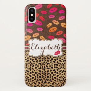 Leopard Print Lips Kisses Personalized iPhone XS Case