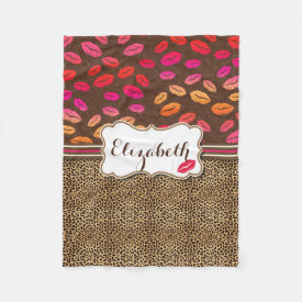 Leopard Print Lips Kisses Personalized Fleece Blanket